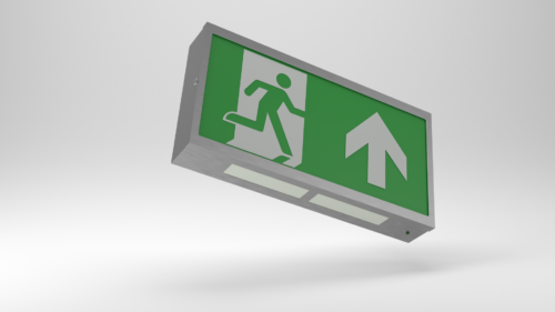 Brushed Steel Exit sign